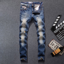 2017 New Arrival Fashion Men Jeans Straight Fit Leisure Quality Biker Jeans Denim Trousers Dsel Brand Ripped Jeans men Pants dsel brand men s jeans high quality blue color denim stripe jeans mens pants buttons destroyed ripped jeans for men biker jeans