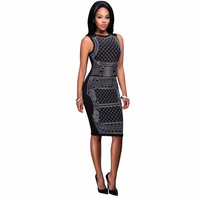 Summer Dress New Women Sexy Geometric Rhinestone O-Neck Sleeveless Midi  Bodycon Tank Dress Black 894ce14ae041