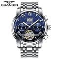 Relógios de luxo homens top relógio guanqin tourbillon automatic aço inoxidável à prova d' água luminosa masculino relógio de pulso relogio masculino
