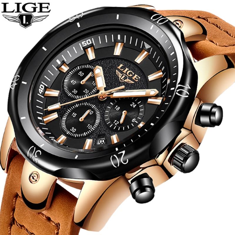 LIGE New Mens Watches Top Luxury Brand Military Sport Waterproof Quartz Watch Men Fashion dress Leather clock Relogio Masculino цена