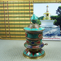 Tibet furnishing articles with Buddha Nepal pure copper inlaid turquoise rotatable design a type to turn the wheel