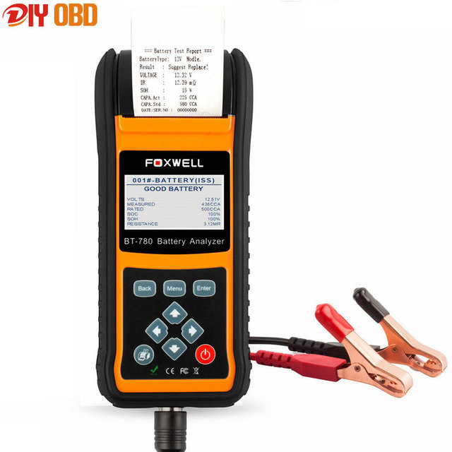 Foxwell BT780 12V 24V Car Battery Tester Detect Bad Car Cell Battery 100 to 2000CCA with Printer Battery Analyzer BT-780