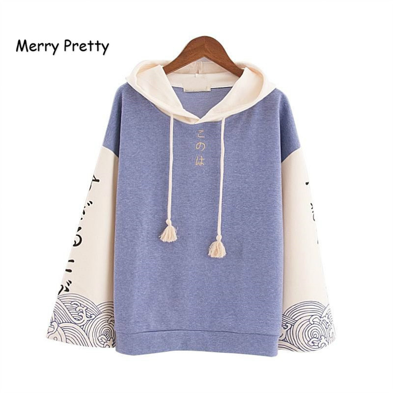 MERRY PRETTY Harajuku Women Hooded Sweatshirts Autumn Long Sleeve Pullovers Tracksuits For Femme Japan Style Print Hoodies Girls