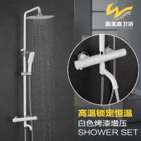is provided with an adjustable rain shower, a white paint spring, a constant temperature valve core and a shower set