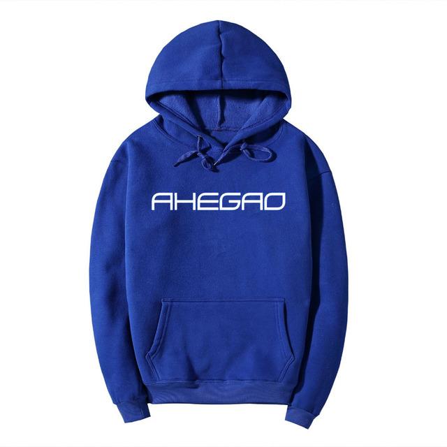 Pkorli Ahegao Hooded Sweatshirt Men Women Casual Letter Printed Long Sleeve Pullovers Crewneck Sweatshirts Tracksuit Jumper