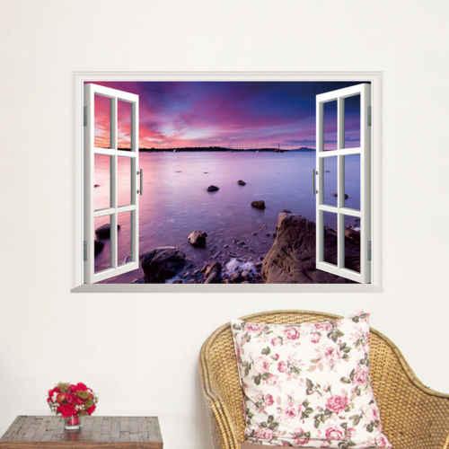 3D หน้าต่าง Sea Beach View Scenery Art ไวนิลสติ๊กเกอร์ติดผนังกำแพง Decals ตกแต่งบ้าน