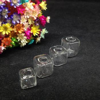100pcs clear square ice cubes Glass Bubble  jewelry glass vial globe dome glass wishing bottle necklace pendant diy accessories