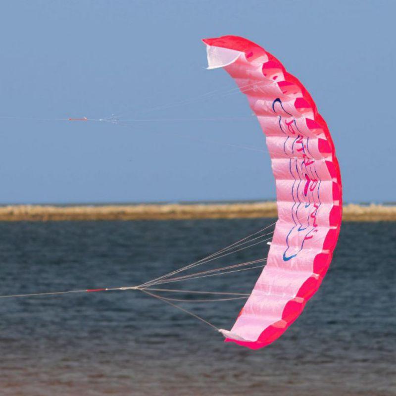 Outdoor Fun Power Dual Line Stunt Parafoil Parachute Rainbow Sports Beach Kite For Beginner