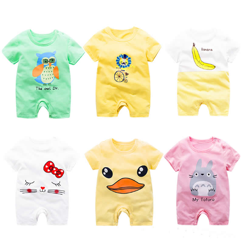 Baby Short Sleeve One-piece Dress Baby Romper Newborn Infant Cotton Romper Boy Girl animal Printed Jumpsuit Kids Clothes Outfit cute newborn baby boy girl clothes floral infant bebes cotton romper bodysuit bloomers bottom 2pcs outfit bebek giyim clothing