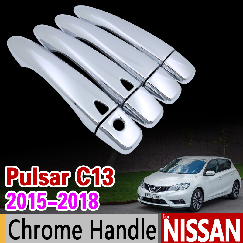 for Nissan Pulsar C13 Luxurious Chrome Door Handle Cover Trim Set Tiida 2015 2016 2017 2018 Car Accessories Stickers Car Styling 4 pcs chrome plated abs door handle bowl for nissan qashqai