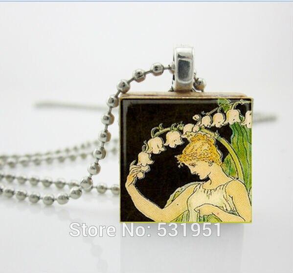 Женщин способа ожерелья 2014, Царапают Арт-Кулон-Леди Ландыш-Эрудит плитка для ювелирных изделий, женская деревянные ожерелья