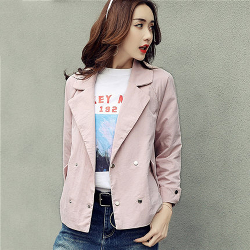 New Fashion 2018 Spring Women's Jacket Coats Casual Female Outerwear Loose Three Quarter Sleeve Thin Windbreaker Girls L200