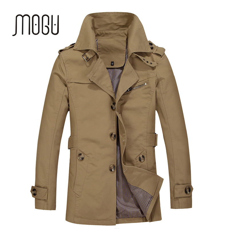 MOGU 2017 New Arrival Fashion Trench Coat Men Plus Size 5XL Trench Men Solid 100% Cotton Casual Jacket Men Khaki Coats For Men