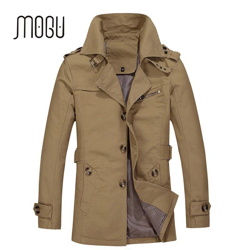 MOGU 2017 New Arrival Fashion Trench Coat Men Plus Size 5XL Trench Men Solid 100% Cotton Casual Jacket Men Khaki Coats For Men