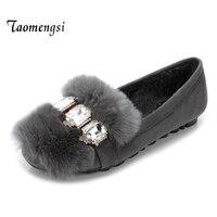 Taomengsi Coréenne D'hiver Rex Maomao Chaussures Plus de Velours Chaussures Doug Dépoli Diamant Perlée Ronde Mode Chaussures Femmes