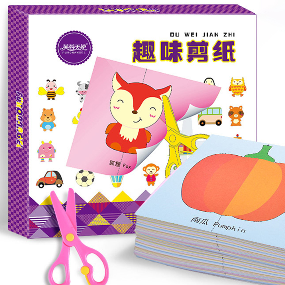 Crafts For Kids 100pcs Kids Cartoon Color Paper Folding And Cutting Toys/children Kingergarden Art Craft DIY Educational Toys