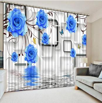 High quality 3D Curtain rose Beautiful lifelike refined 3D Bedroom Curtains blue Sheer Curtain For bedroom