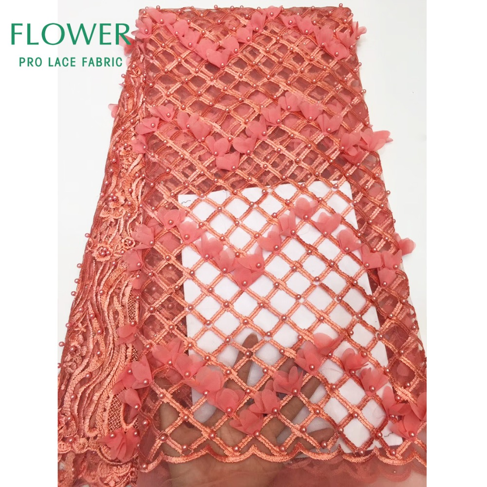 New Style 3D Flower Applique Grid Embroidered African Net Lace Fabric Beaded 3D Voile Lace Senegal