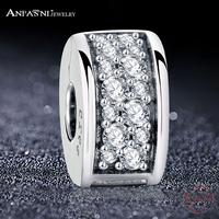 ANFASNI Fashion 925 Sterling Silver Shining Elegance Clip Bead Charms With Clear CZ Fit Original Bracelets