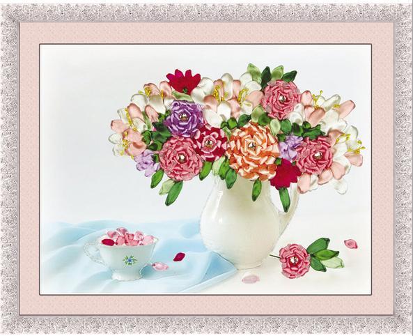 3d Silk Ribbon Embroidery Kit Flower Vase Needlework Embroidery