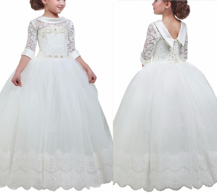 купить White First Communion Dresses for Girls with Three Quarter Sleeves Lace Fluffy Flower Girl Dresses Custom Size онлайн