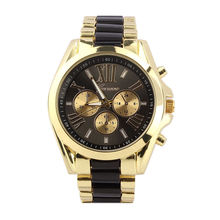 Basic Luxurious Males Stainless Metal Quartz Analog Wrist Watch For Valentine, Black