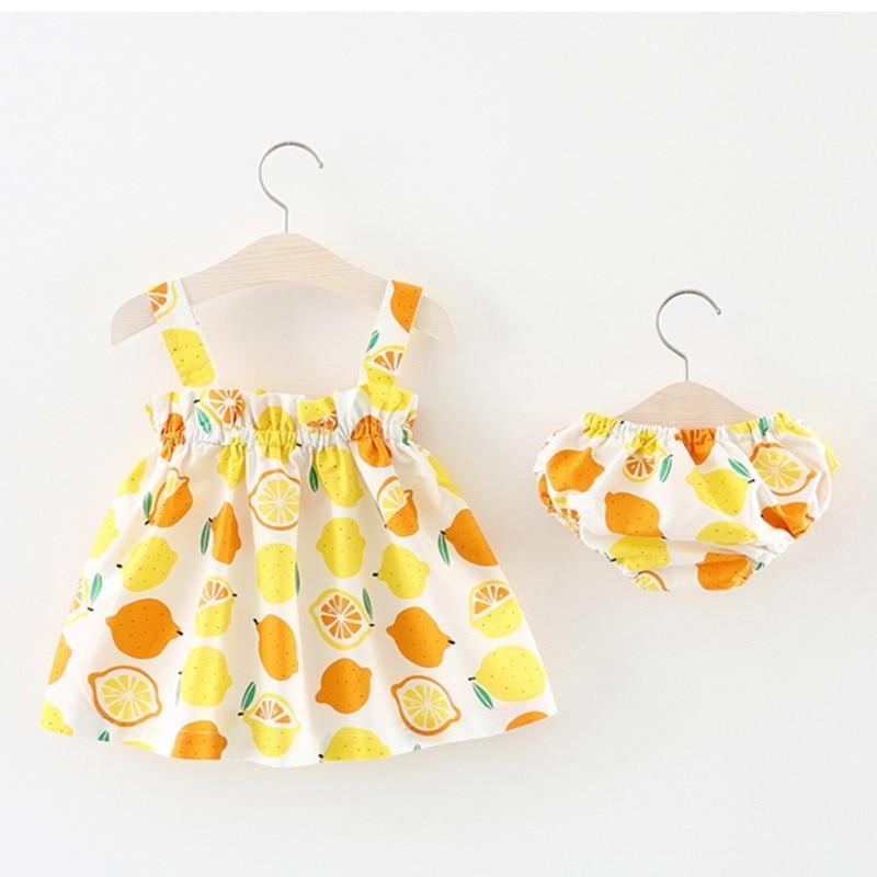 2018 New Lemon Muster Infrant Neugeborenen Baby Mädchen Kleidung Top Sets 2 Stücke Stellt Kurze Weste + Pp Hosen Druck Patten Für Baby 6-24 Mt