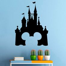 Princess Castle Vinyl Wall Sticker Mickey Mouse Design Wall Decal Fairytale Interior Nursery Decor Removable Castle Mural AY1659 2014 new design inflatable castle mickey mouse for sale