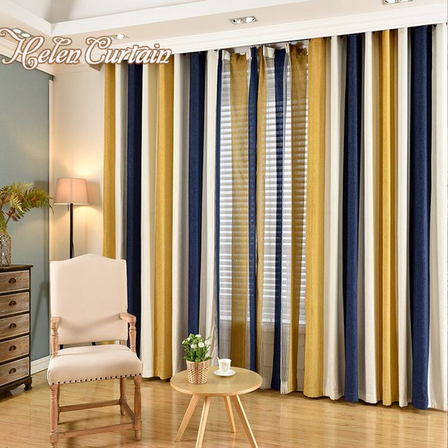 Helencurtainmodern Chenille Stripe Curtains For Living Room Yellow Curtain Tulle Bedroom Kids Window Treatments