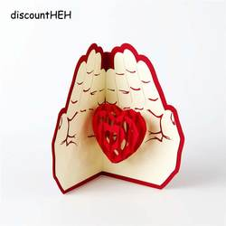 3D творческий ручной Любовь в руке Post Pop Up складной свадебные открытки Валентина День рождения подарок на день матери новое поступление