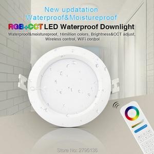 Image 1 - 6W RGB + skk su geçirmez led downlight FUT063 IP54 220v gömme led yuvarlak tavan paneli spot ışık kapalı oturma odası banyo