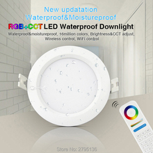 hot deal buy milight 6w rgb+cct waterproof led downlights fut063 220v recessed led round ceiling panel spot light indoor living room bathroom