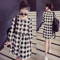 2017 Maternity women long-sleeved autumn dress Korean new loose plaid cotton linen dresses for female pregnant plus size L-4XL