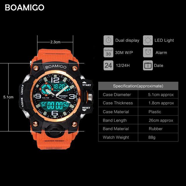 Men Sports Watches BOAMIGO Brand Digital LED Orange Shock Swim Quartz Rubber Wristwatches Waterproof Clock Relogio Masculino