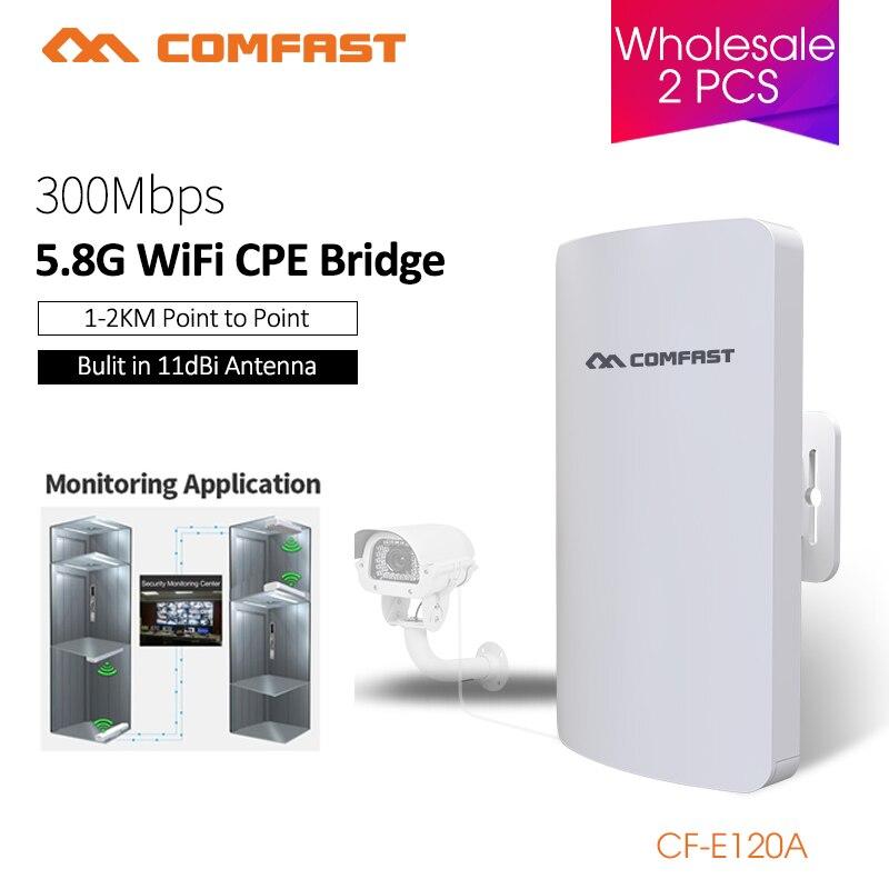 Répéteur extérieur de routeur de CPE Wifi de pont sans fil de COMFAST 5.8ghz 300mbs Mini pour le projet de caméra IP amplificateur de portée de 1-2KM CF-E120A
