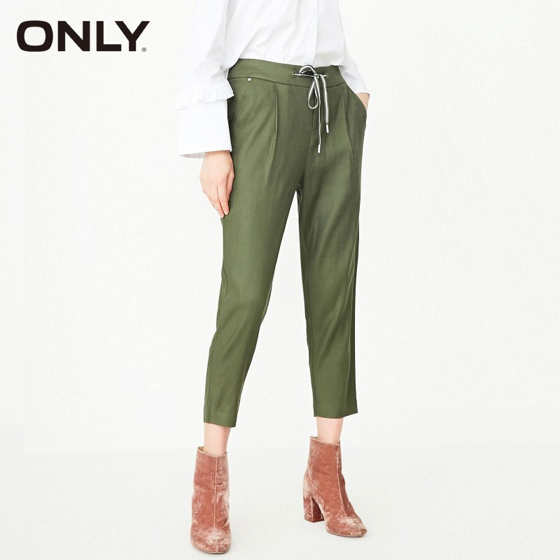 ONLY Women Spring & Summer Woven Drawstring Casual Crop Harem Pants Trousers  11816J524