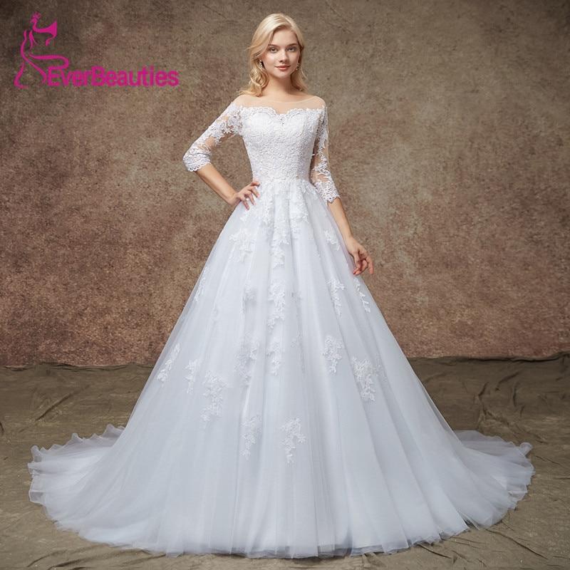 Vesido De Novia Wedding Dresses 2019 Three Quarter Sleeves Tulle Appliqued Vintage Court Train Mariage Bridal Dress Trouwjurk