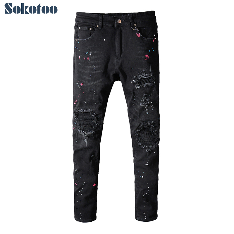 Sokotoo Men's Painted Black Pleated Biker Jeans For Motorcycle Slim Fit Ripped Stretch Denim Pants