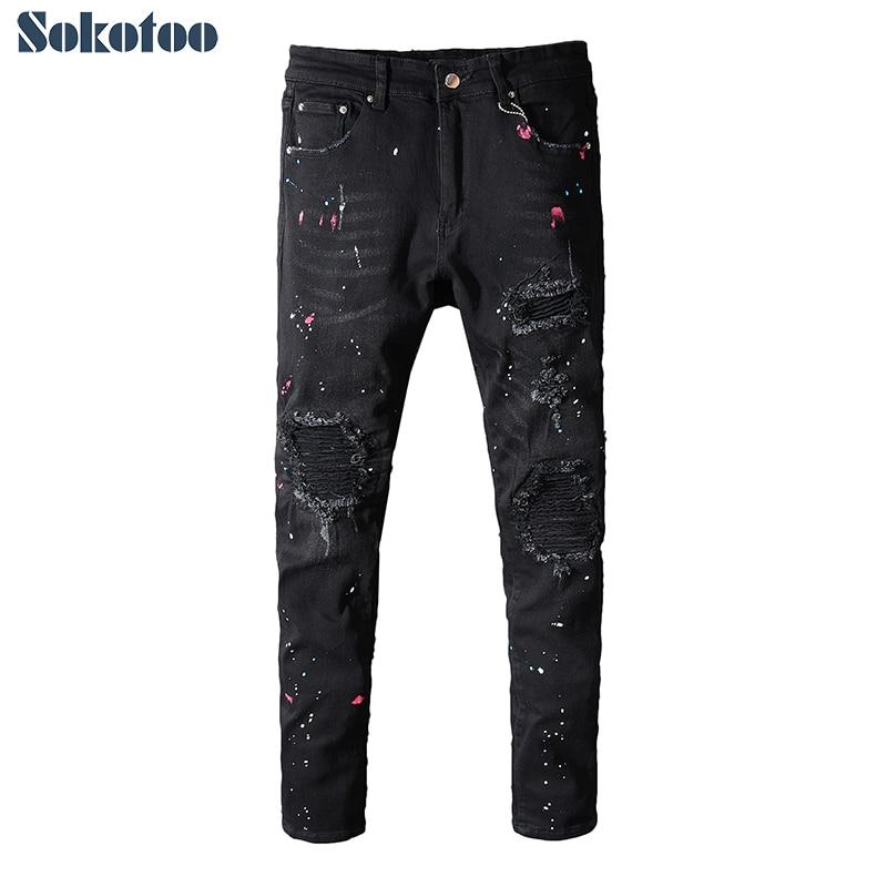 Sokotoo mannen geschilderd zwarte geplooide biker jeans voor motorcycle Slim fit ripped stretch denim broek-in Spijkerbroek van Mannenkleding op AliExpress - 11.11_Dubbel 11Vrijgezellendag 1