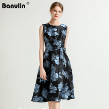 Banulin High Quality Womens Designer Runway Dresses European 2019 New Vintage Floral Printed  Sleeveless Jacquard Dress