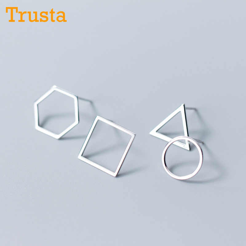 830c73d47 Trusta 100% 925 Sterling Silver Jewelry Fashion Cute Round Square Triangle  Hexagon Stud Earrings Gift