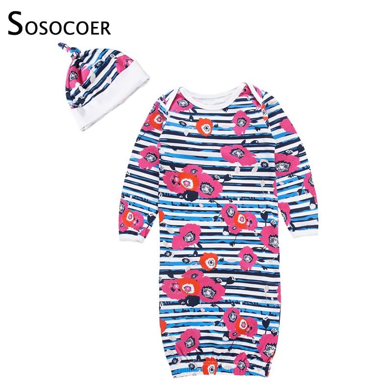 Sosocoer Pasgeboren Sleepers Baby Gown Bloemen Gestreepte Baby Nachtkleding Gewaad Pyjama Bebe Slaapzak Baby Meisje Romper Pak Met Ap Delicious In Taste