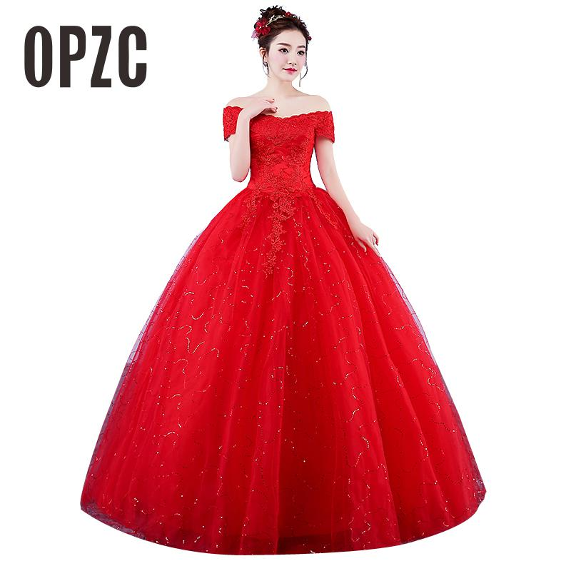 Real Photo Wedding Dresses 2017 Boat Neck Lace Off the Shoulder Red Romantic Bride Princess Lace
