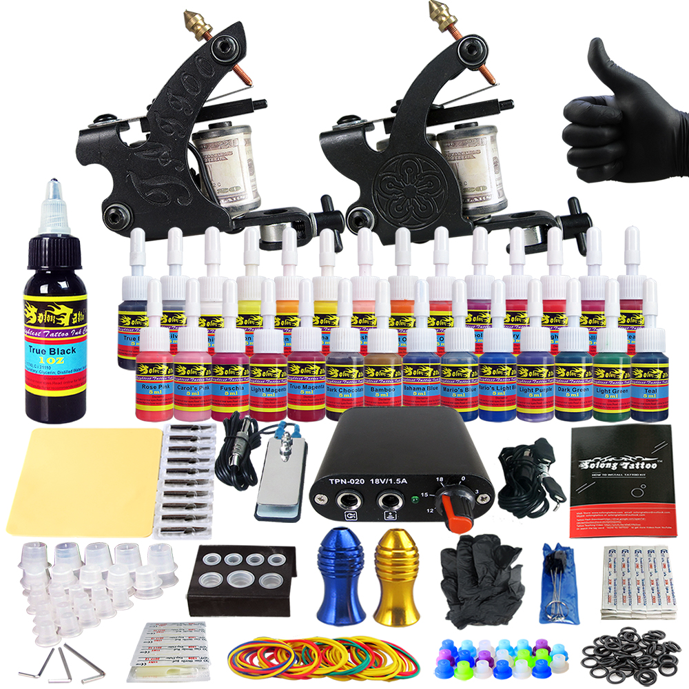 Hybrid Complete Kit For Tattoo Liner and Shader Beginner Power Supply Foot Pedal Grips Needles Ink Set Tattoo Body&Art TK204-40Hybrid Complete Kit For Tattoo Liner and Shader Beginner Power Supply Foot Pedal Grips Needles Ink Set Tattoo Body&Art TK204-40