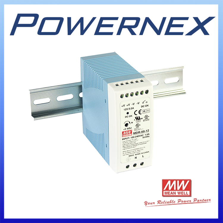 [PowerNex] MEAN WELL original MDR-60-12 12V 5A meanwell MDR-60 12V 60W Single Output Industrial DIN Rail Power Supply