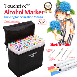 Touchfive Marker 30/40/60/80/168 Farben Kunst Marker Set Alkohol Basierend Skizze Pinsel Marker stift Für Künstler Zeichnung Manga Animation Schnelle Lieferung