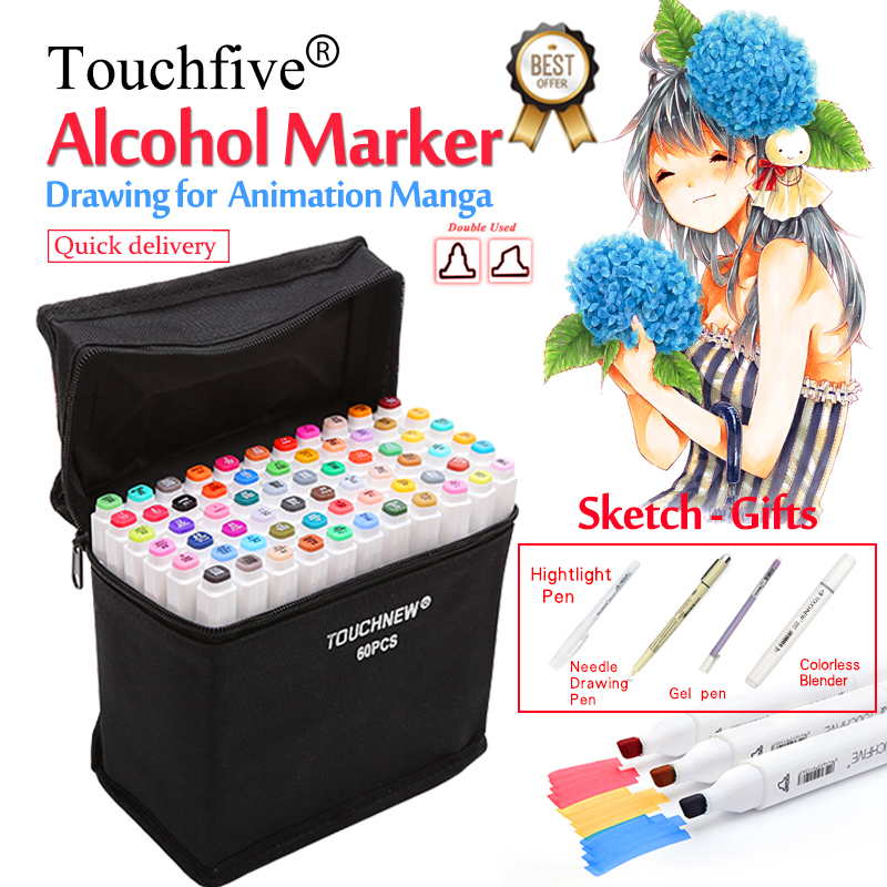 Touchfive grasa Alcohol Marcadores/30/40/60/80/168 colores de doble cabeza dibujo marcador pluma para dibujar Manga animación arte suministros