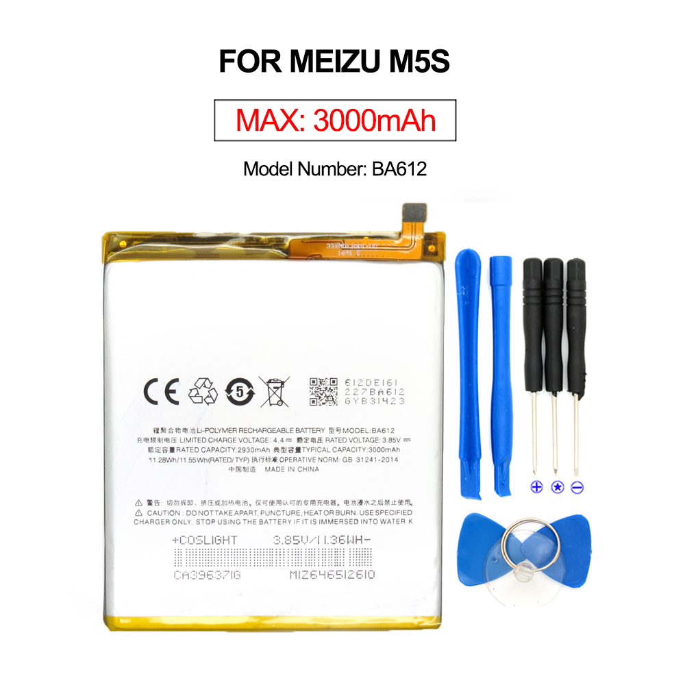 2017 New For Meizu M5S Battery BA612 Compatible For Meizu M5S Mini Mobile Phone Batterie 3000mAh With Free Tools