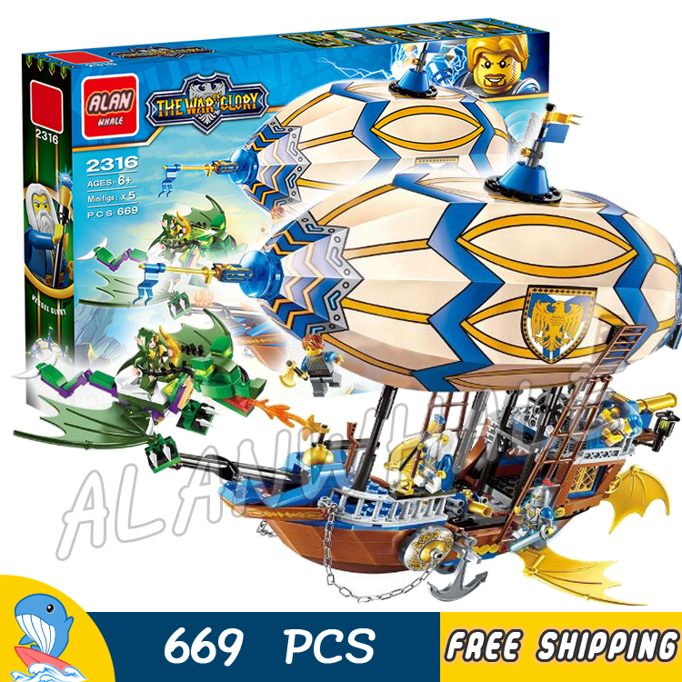 669pcs The War Human VS Elves Goblin Zeppelin Flying Dragon Archer Model Building Blocks Kit Game Toy Brick Compatible with lego chris wormell george and the dragon