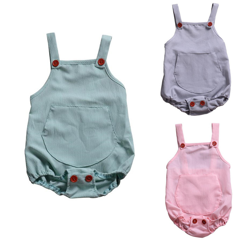 2019 Baby Boys Summer   Romper   Infant Girl Solid   Rompers   Toddler Baby Lovely One-pieces Kids Boy Suspender Jumpsuit 0-24M